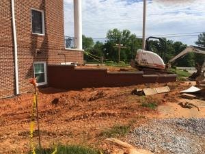 masonry and building waterproofing work at Calvary Baptist Church