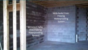 basement walls with and without Parks' Free-Flowing Waterproofing System